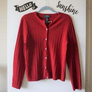 LRL Red Button Up Wool Blend Cable Knit Cardigan M